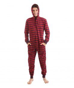 Retro Hooded Adult Onesie Pajamas