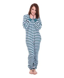 Minty Striped Adult Onesie