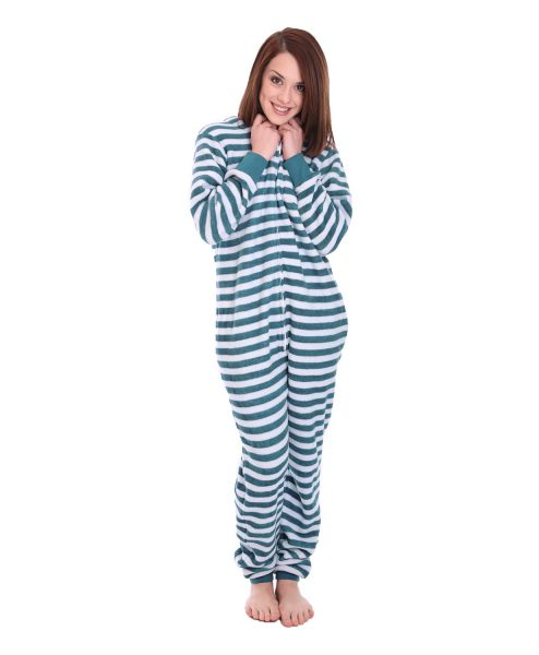 Minty Striped Adult Onesie