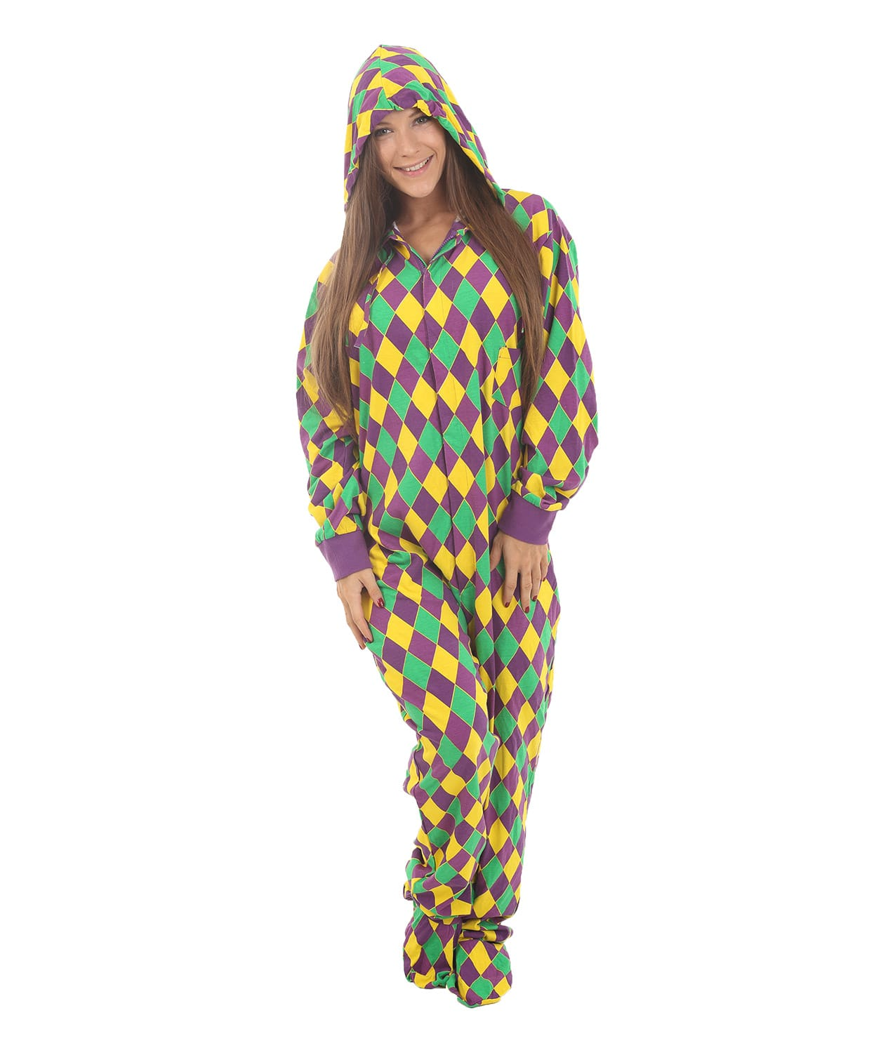 New Harlequin Footed Adult Onesie - The Mighty Quinn   Funzee
