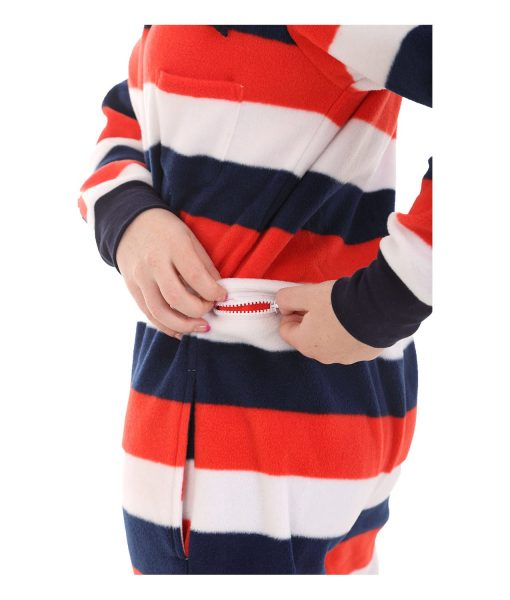 Red, White n Blue Butt Flap Adult Onesie