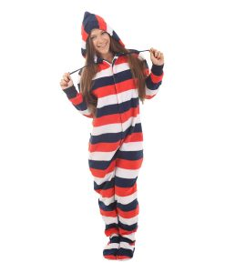 Red, White n Blue Footed Pajama Suit